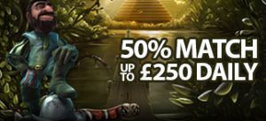 50% match up to £250 daily